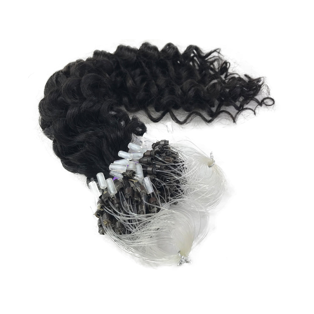 8A Micro Link Jerry Curl Human Hair Extension Natural Black - eHair Outlet