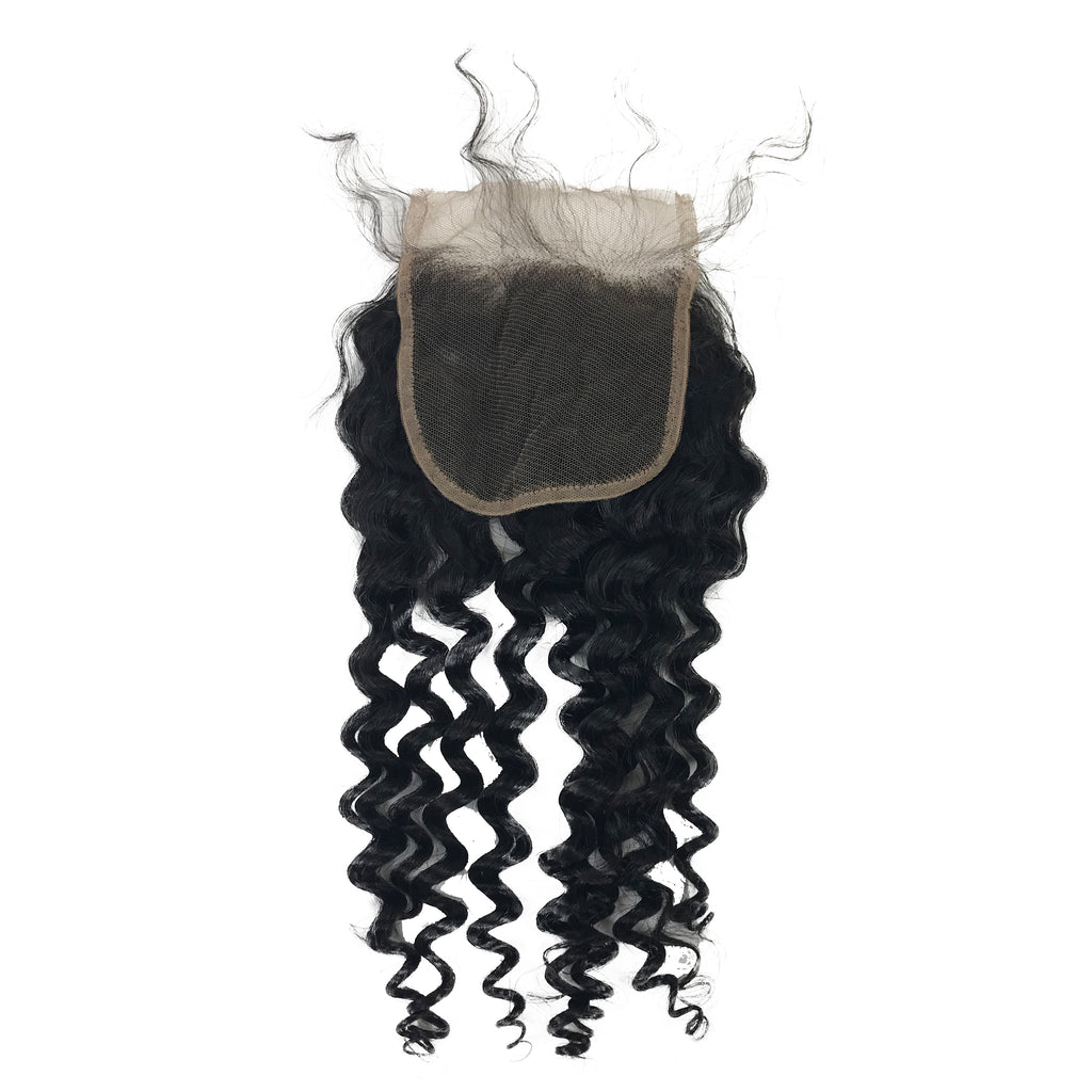 "Virgin Jerry Curl Lace Closure 4""x4"""
