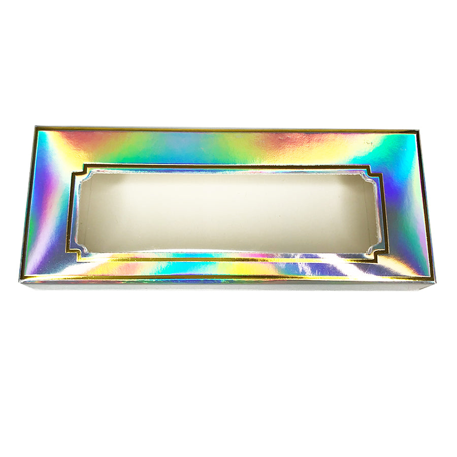 Laser Holographic Paper Empty Eyelash Box Gift Box Full Window - eHair Outlet