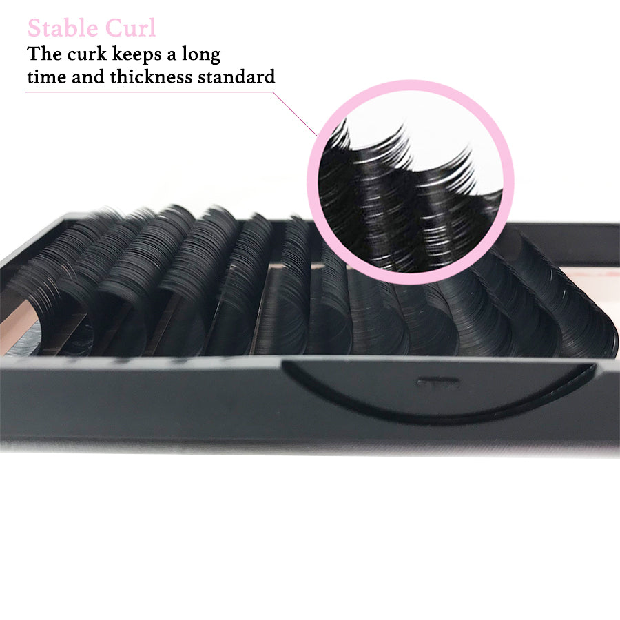 Mix Tray 11mm-15mm / 14mm-18mm Thickness 0.07 C / D Curl  Handmade Soft Natural  Eyelash Extensions Individual Lashes Tray (12 Lines) - eHair Outlet