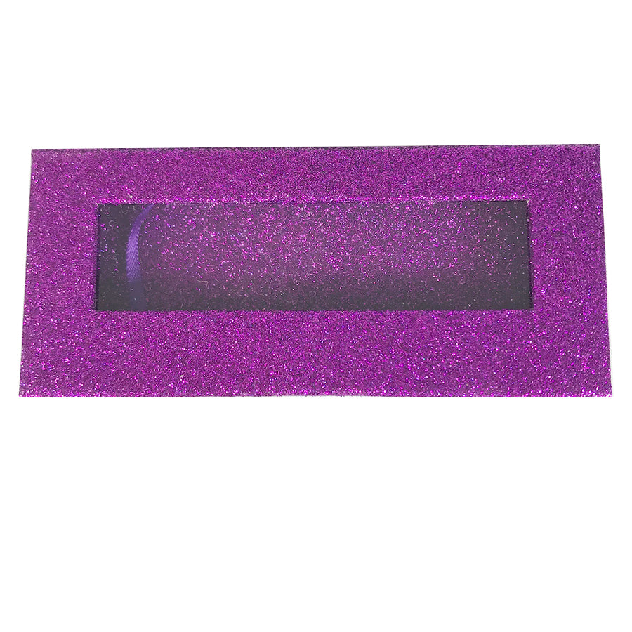 Glitter Purple Empty Eyelash Box Gift Box Full Window / Small &Big - eHair Outlet