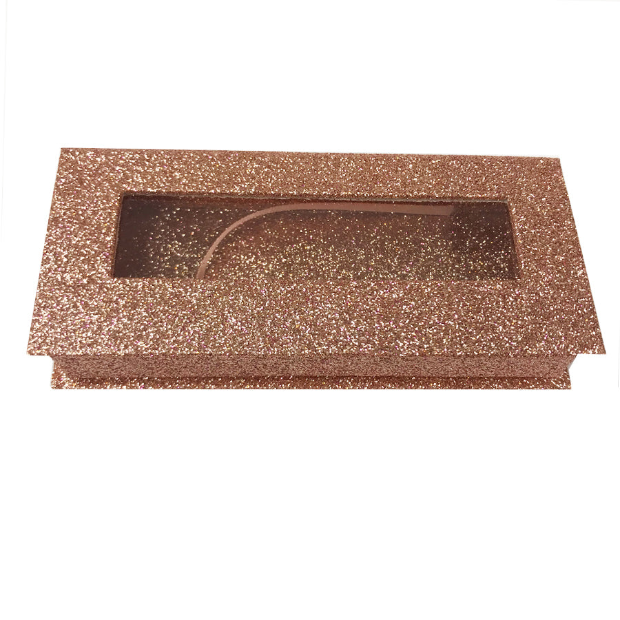 Glitter Rose Gold Empty Eyelash Box Gift Box Full Window / Small & Big - eHair Outlet