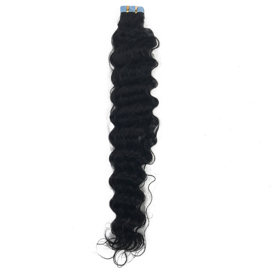 9A Deep Wave Tape-In Human Hair Extension Natural