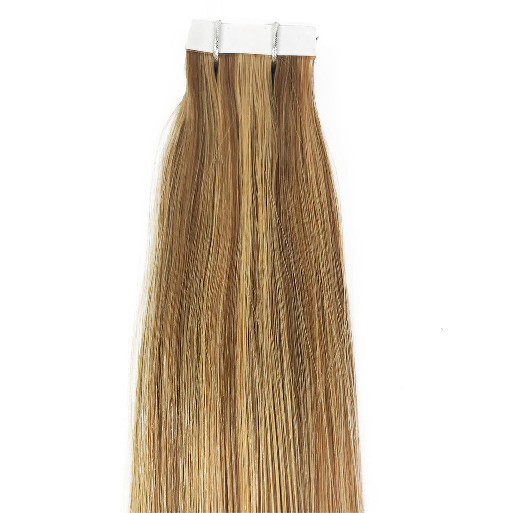 8A Straight Tape-In Human Hair Extension Color F24/27/17 - eHair Outlet