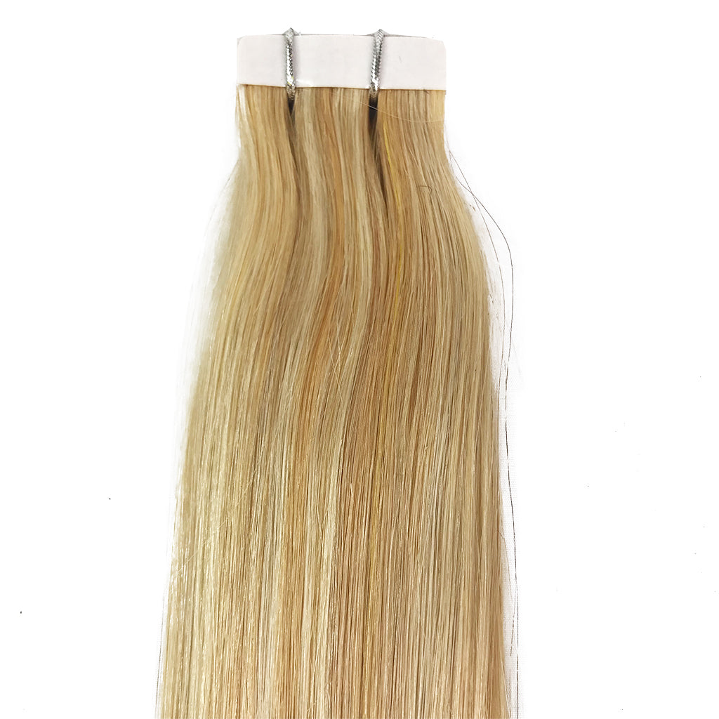 8A Straight Tape-In Human Hair Extension Color F27/613 - eHair Outlet