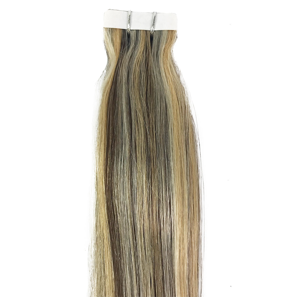 8A Straight Tape-In Human Hair Extension Color F4/27/613 - eHair Outlet