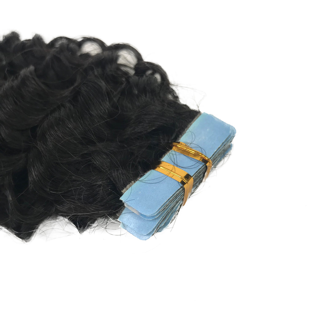 9A Jerry Curl Tape-In Human Hair Extension Natural - eHair Outlet