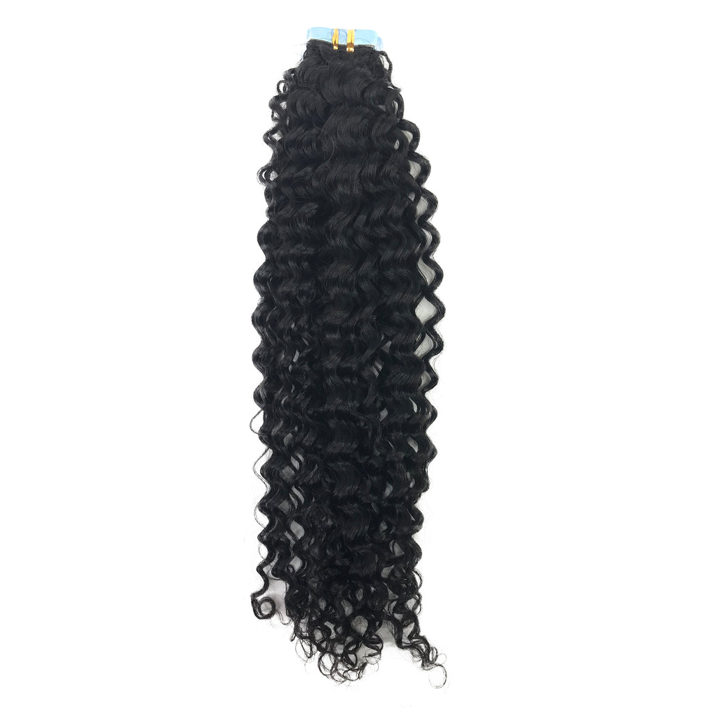 9A Jerry Curl Tape-In Human Hair Extension Natural