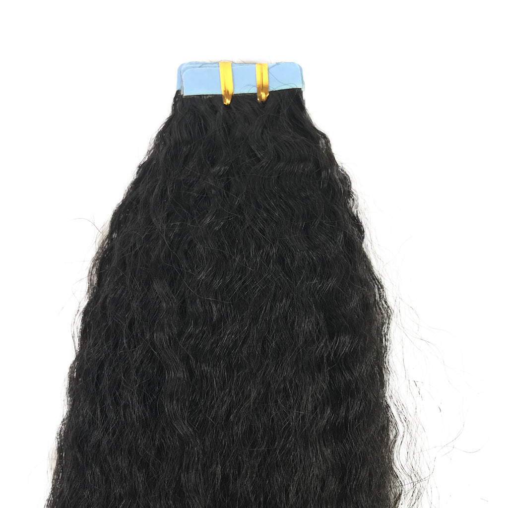 9A Kinky Straight Tape-In Human Hair Extension Natural