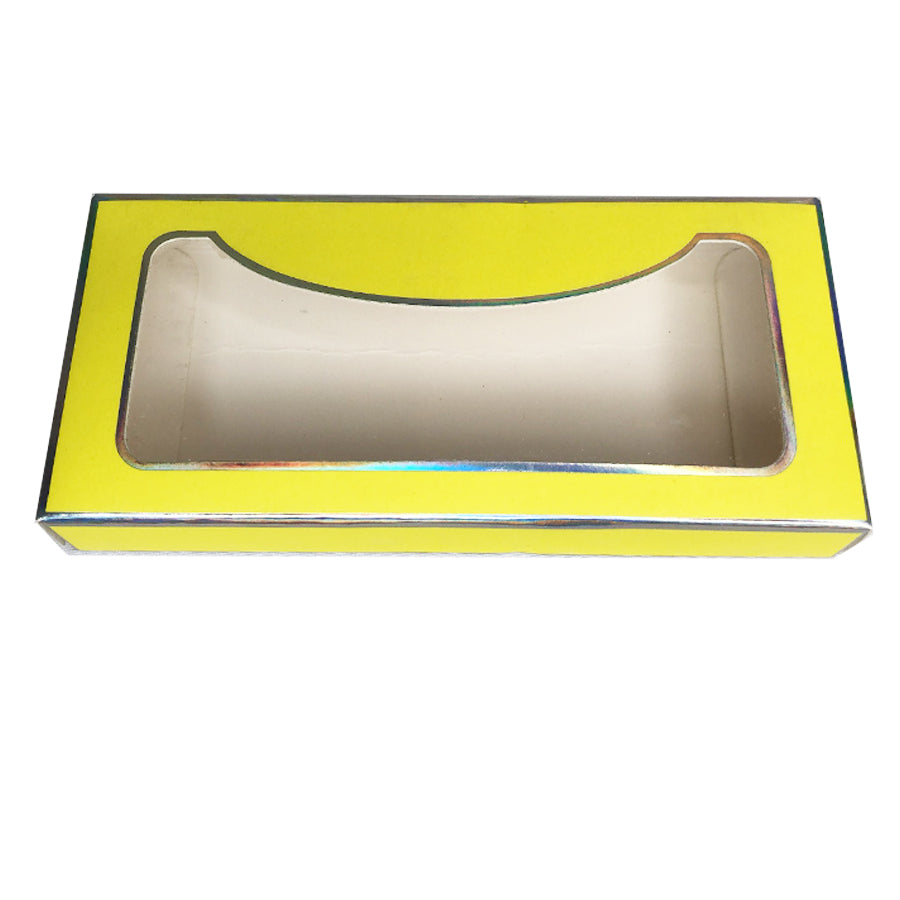 Yellow Paper Empty Eyelash Box Gift Box Full Window - eHair Outlet