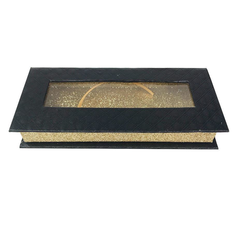 Black and Glitter Gold Empty Eyelash Box Small Gift Box - eHair Outlet