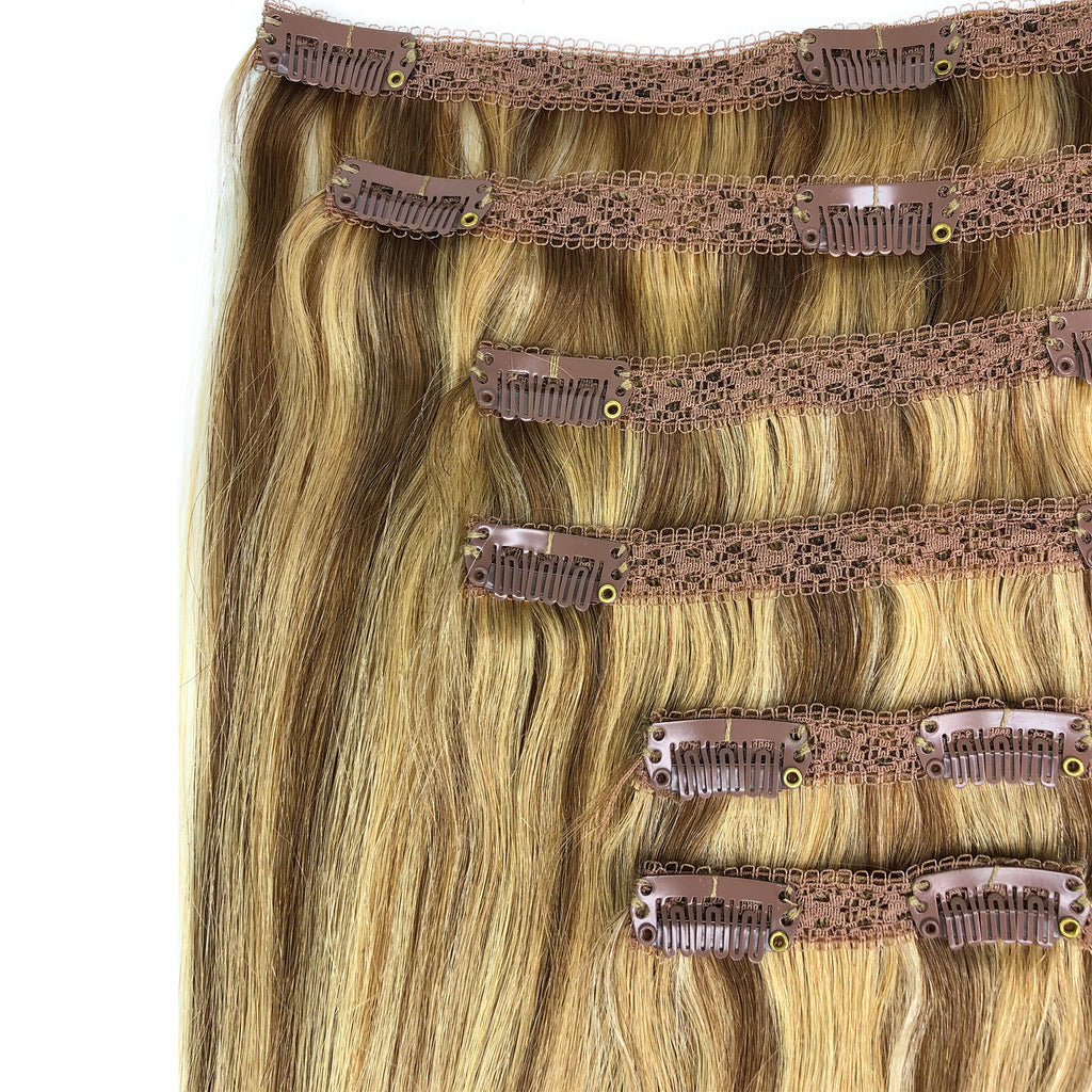 8A Straight Clip-In Human Hair Extension Color F24/27/17 - eHair Outlet