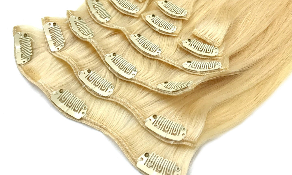 Cameliar Straight Clip-In Human Hair Extension Color 613 - eHair Outlet