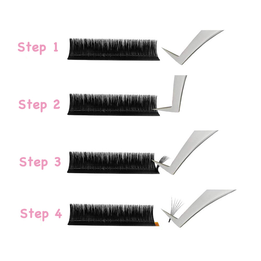 Easy Fan Mix Tray 11mm-15mm / 14mm-18mm Thickness 0.07 C / D Curl  Handmade Soft Natural  Eyelash Extensions Individual Lashes Tray (12 Lines) - eHair Outlet