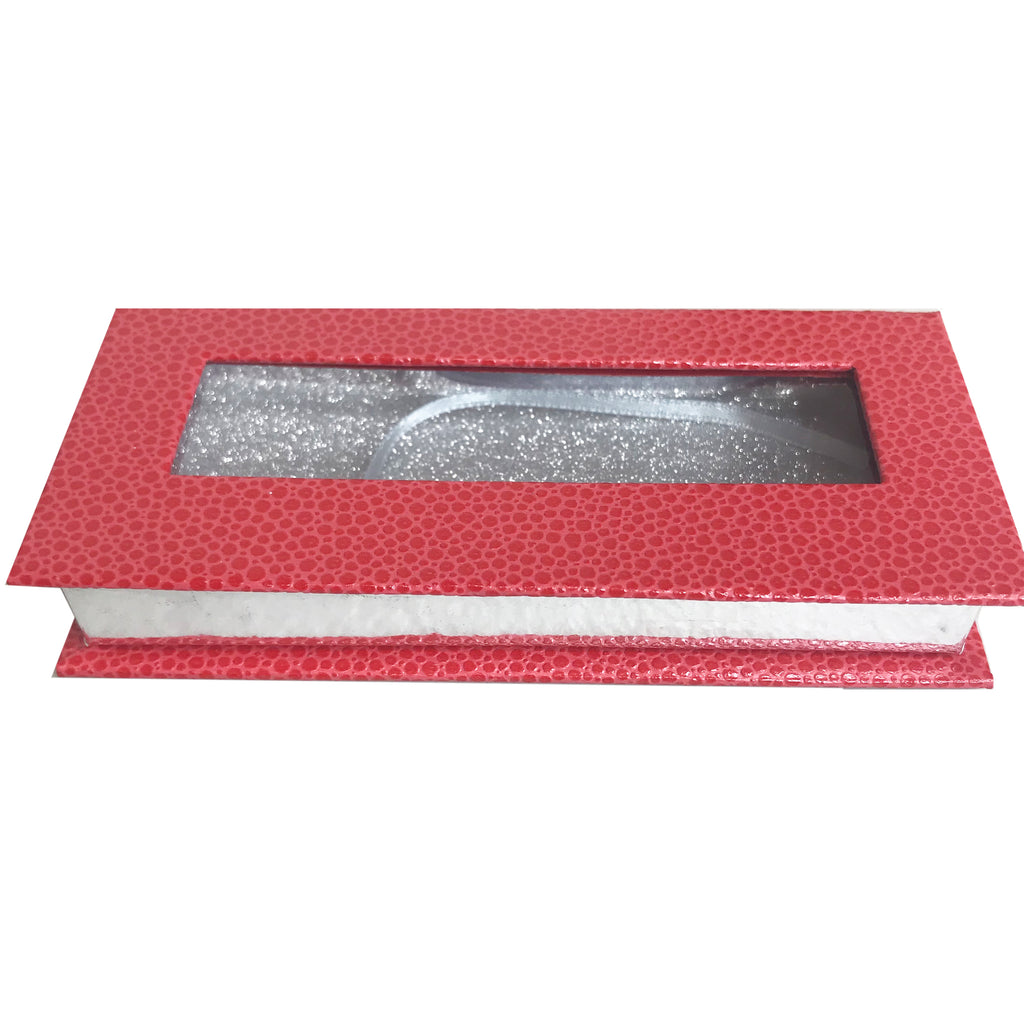Red and Glitter Silver Empty Eyelash Box Small Gift Box - eHair Outlet