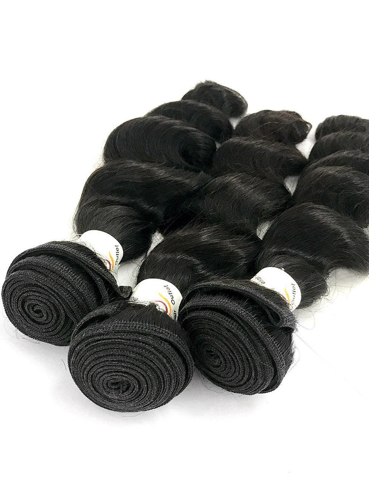 8A Malaysian 3 Bundle Set Loose Wave Virgin Human Hair Extension w/ Lace Closure - eHair Outlet