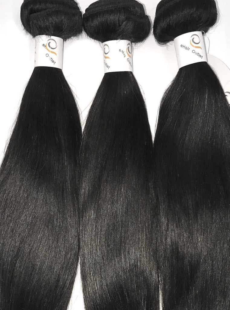 5A Brazilian 3 Bundle Set Straight Virgin Human Hair Extension w/ Remy Lace Closure - eHair Outlet