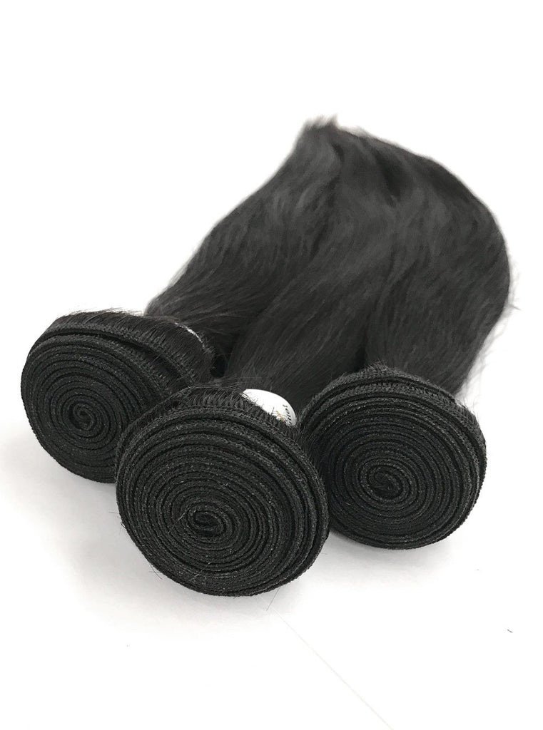 8A Malaysian 3 Bundle Set Straight Virgin Human Hair Extension w/ Lace Closure