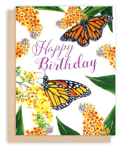 Happy Birthday Card with monarch butterfly and butterfly bush painting