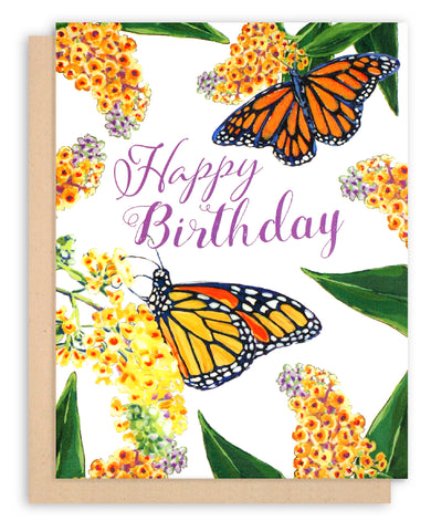 Monarch Butterfly Happy Birthday Greeting Card