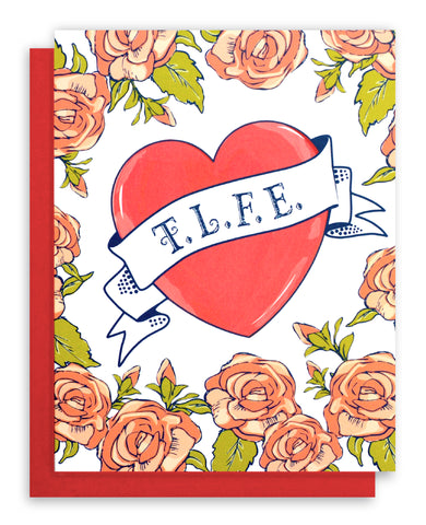 Valentines card with tattoo heart and roses
