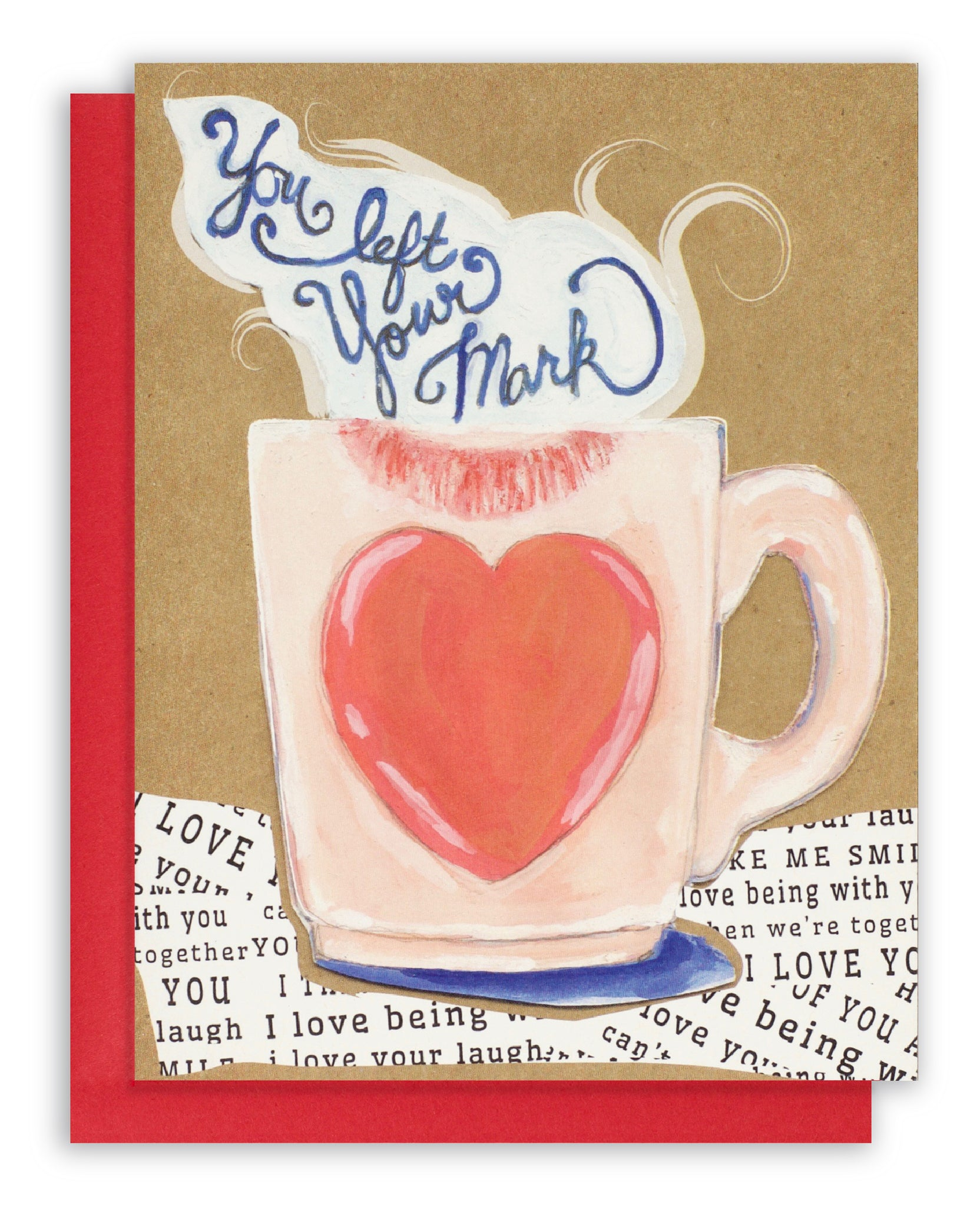 Greeting card of a coffee cup and lipstick mark