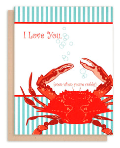 "Red crab ""I Love You"" Card"