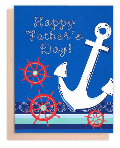 Anchor Nautical Happy Father's Day Greeting Card