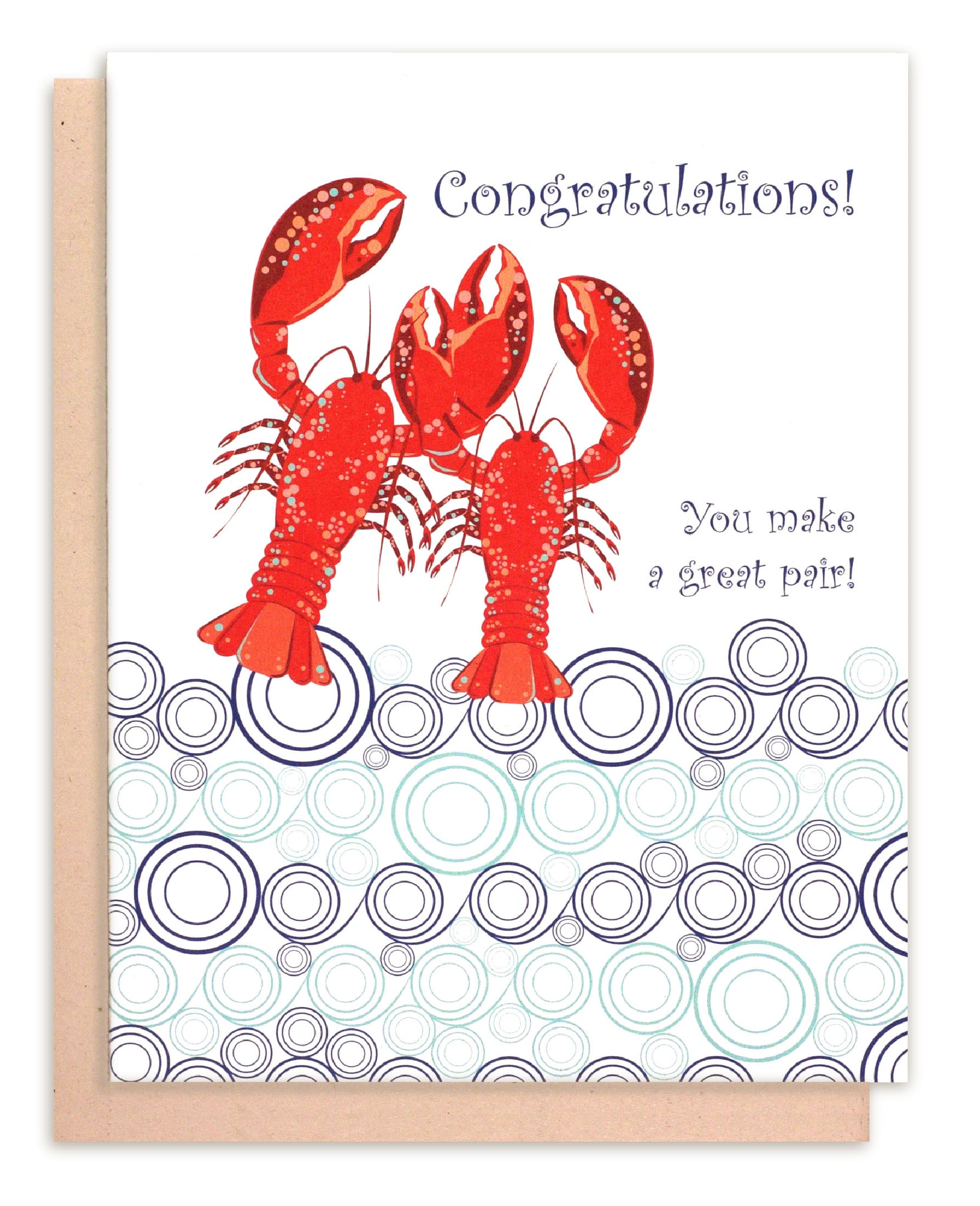 Lobster Wedding Congratulations Card - Lobster Couple - Beach Wedding
