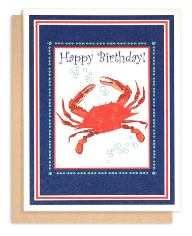 Red Crab Birthday Card