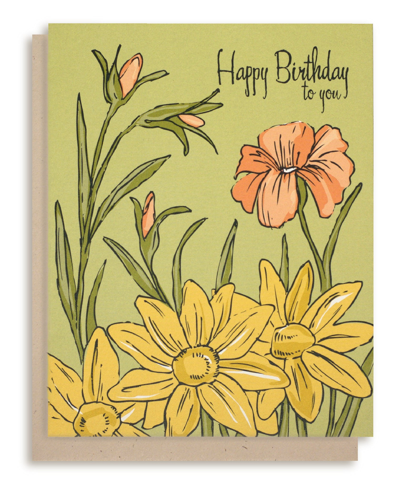 "Floral ""Happy Birthday"" Card"