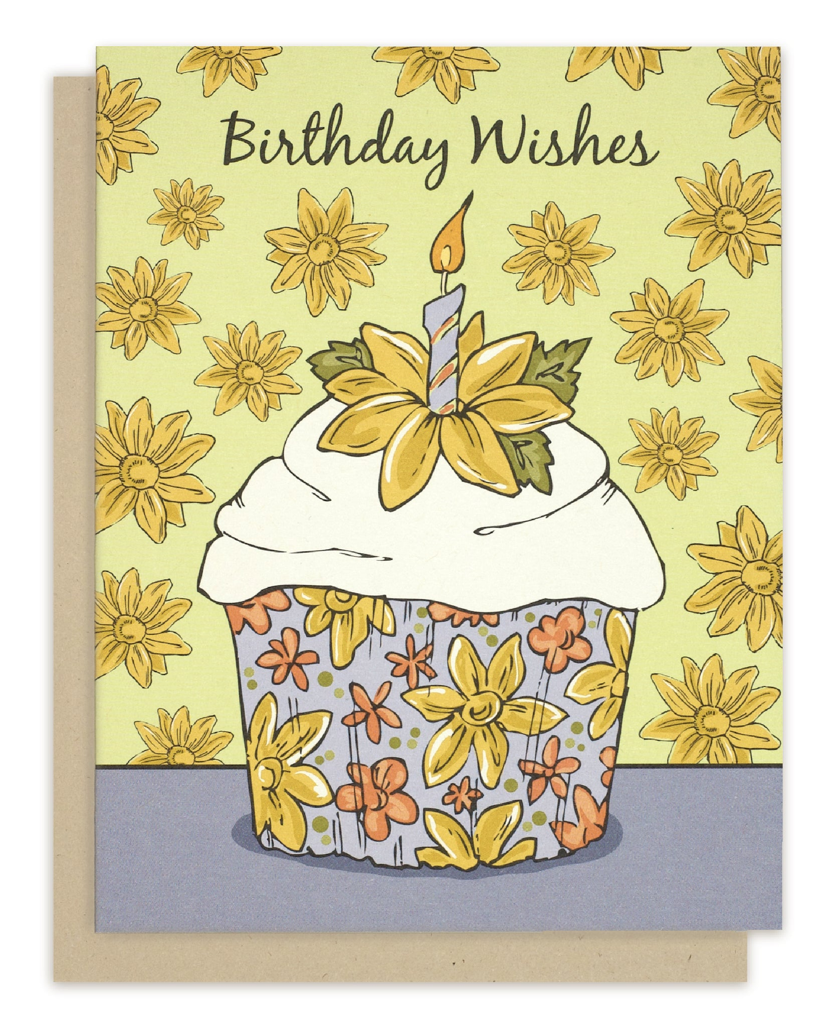Floral Birthday Cupcake Greeting Card