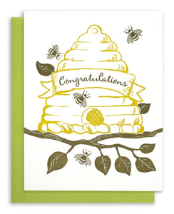Letterpress Bee Hive - Congratulations