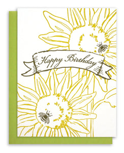 Letterpress Happy Birthday  - Sunflowers and Bees