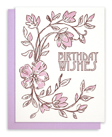 "Letterpress Floral - ""Birthday Wishes"""