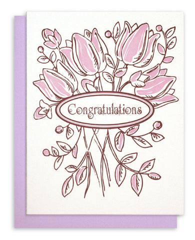"Letterpress ""Congratulations"" - Floral Bouquet"
