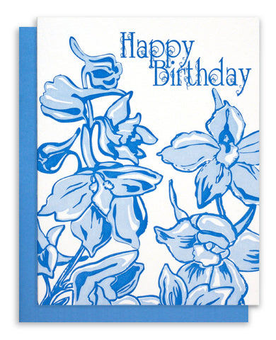 "Letterpress ""Happy Birthday"" - Delphiniums"
