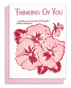 "Letterpress ""Thinking Of You"" Pansies"