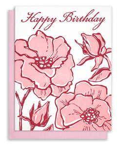 "Letterpress ""Happy Birthday"" - Pink Roses"