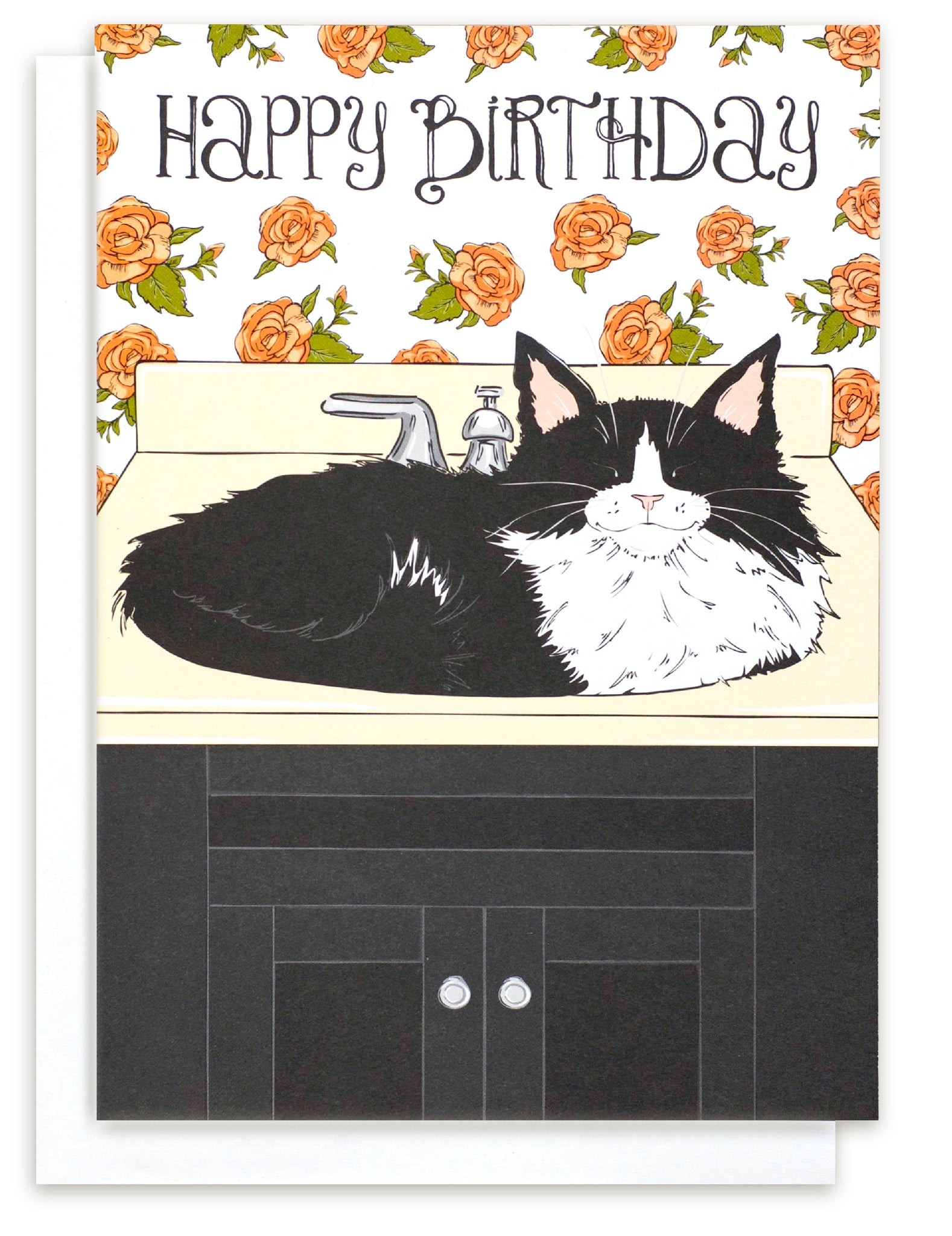 Tuxedo Cat Cat In Sink Funny Humorous Greeting Card