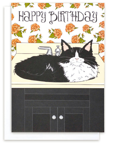 Funny Birthday Card with a grinning Tuxedo cat sitting in a sink