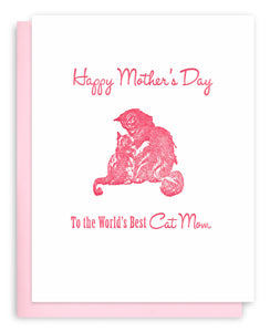 Cat Mom - Cat Mother's Day Letterpress Greeting Card - World's Best Cat Mom