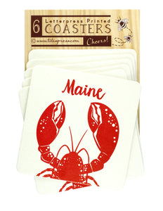 Maine Red Lobster Letterpress Coasters - Beach Party, Birthday Coasters
