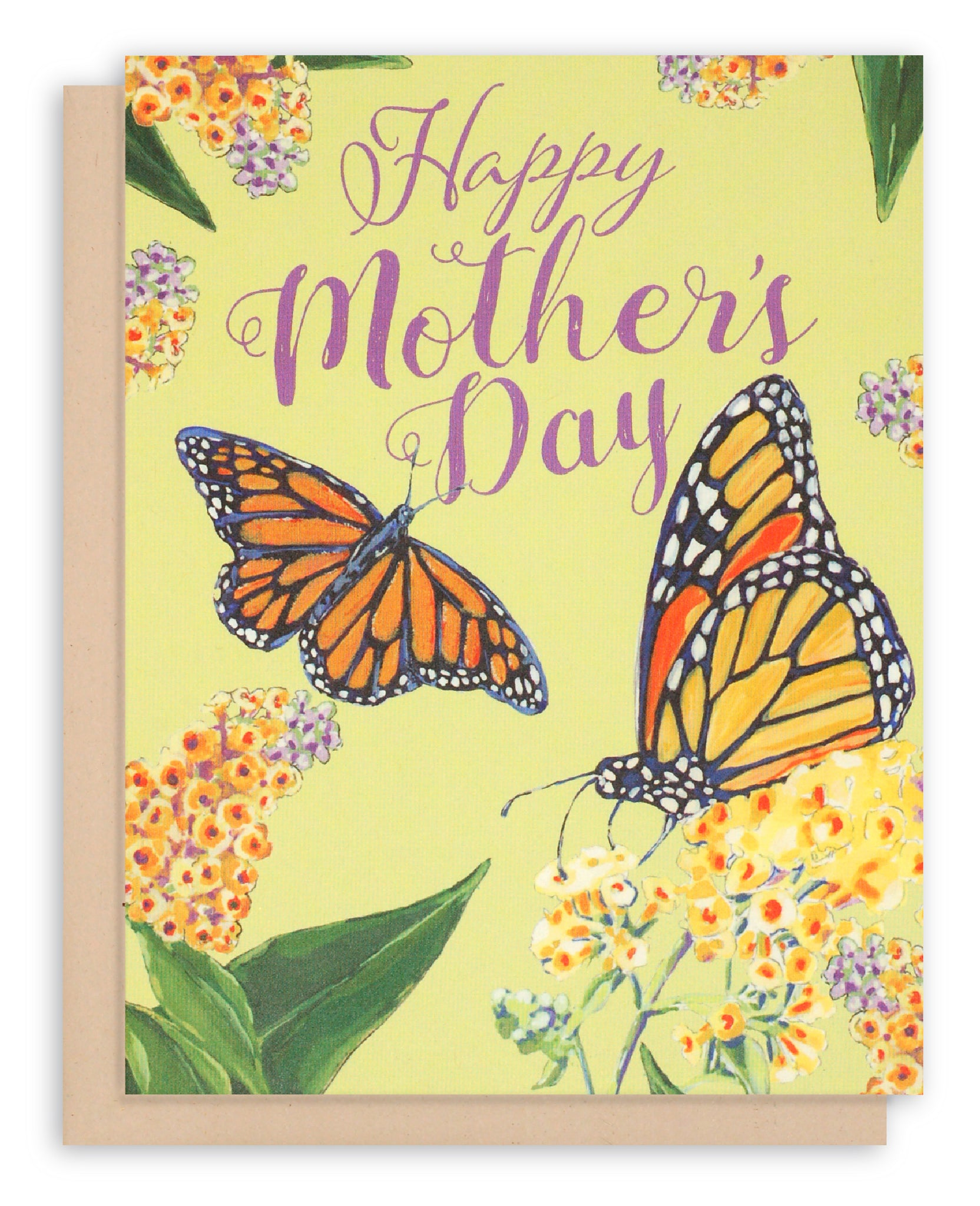 Happy Mother's Day Card with  painted Monarch Butterflies