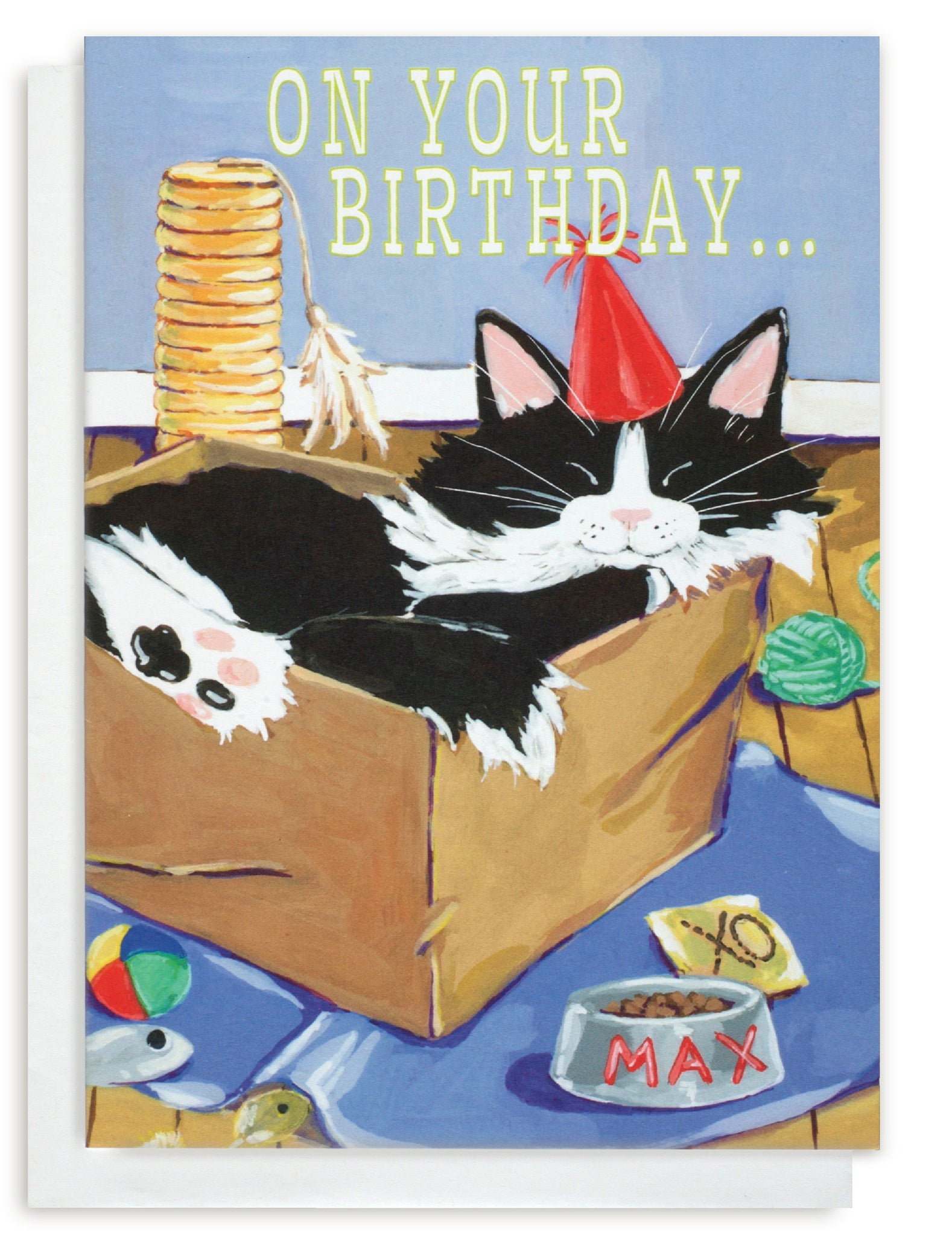 Birthday card of a Tuxedo Cat Cat napping in a Box surrounded by cat treats