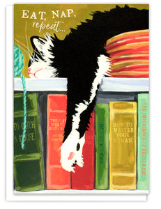 Tuxedo Cat Birthday Card  - cat sleeping on a bookshelf