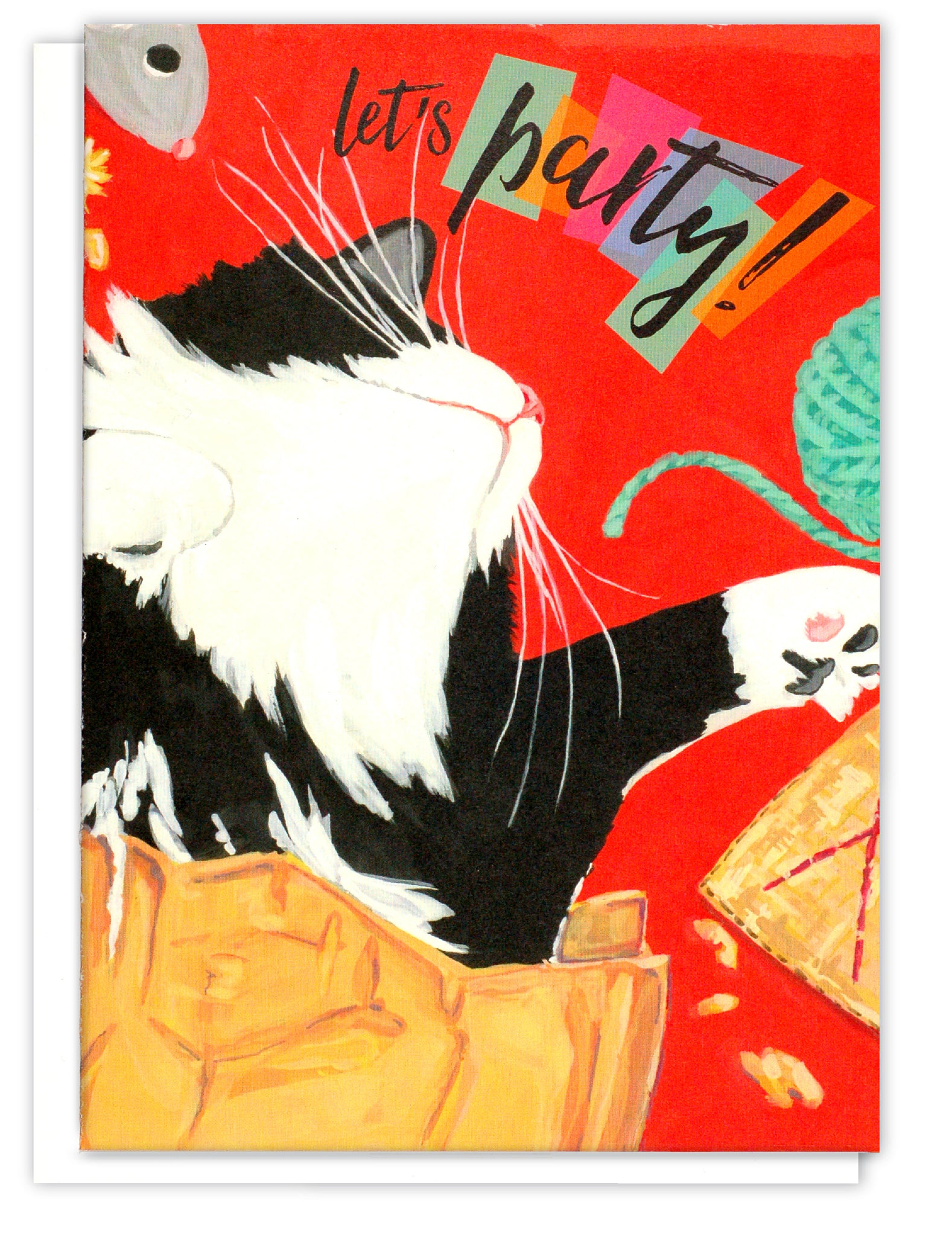 Cat in paper bag Birthday Card | Tuxedo Cat