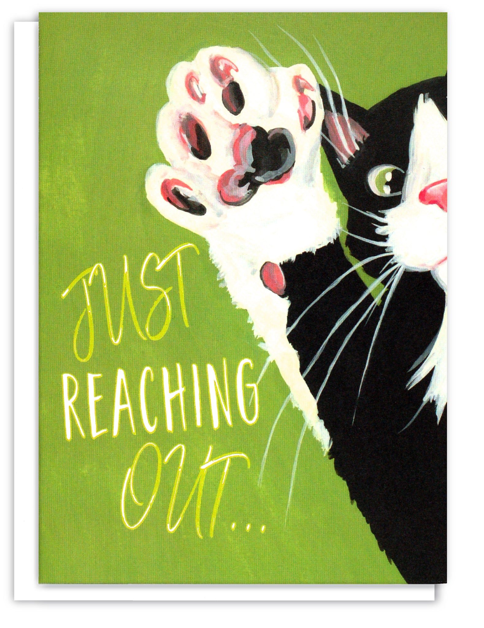 Greeting card of a Tuxedo cat paw reaching out