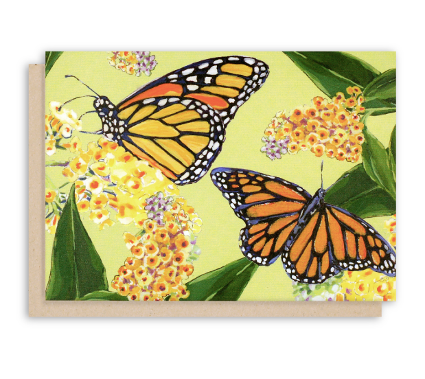Monarch Butterfly and buttefly bush folded notecards