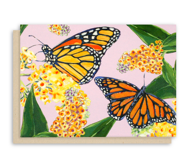 Monarch Butterfly Note Cards with Purple Background